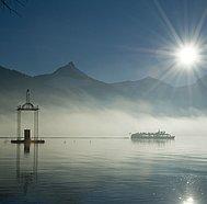 WolfgangseeSchifffahrt, Schiff bei untergehender Sonne,  © Salzburg AG